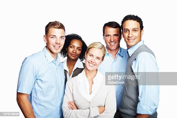 porträt von happy business gruppe kollegen gegen weiß - fünf personen stock-fotos und bilder