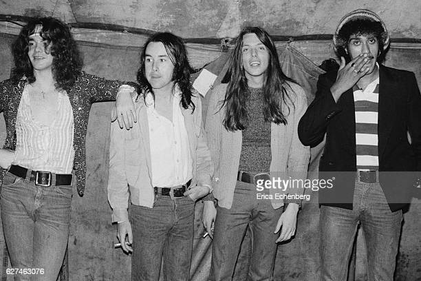 Group portrait of hard rock group Thin Lizzy Cardiff Castle Wales United Kingdom 1975 LR Brian Robertson Brian Downey Scott Gorham Phil Lynott
