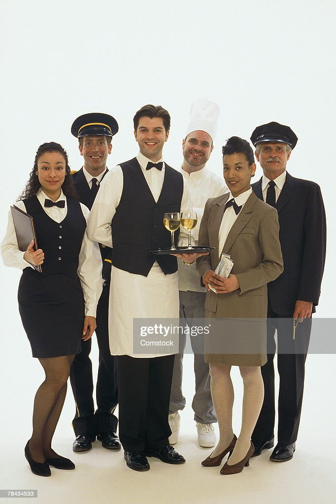 Group portrait of hotel staff : Stockfoto