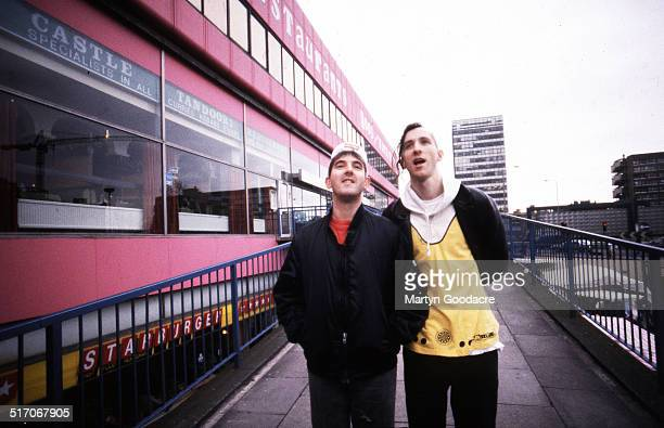 Group portrait of indie rock duo Carter the Unstoppable Sex Machine at Elephant and Castle shopping centre, London, 1991. L-R Les 'Fruitbat' Carter,...