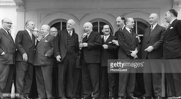 Group portrait of international poiticians whose nations are North Atlantic Treaty Organization signators Bonn Germany 1957 Pictured are from left...