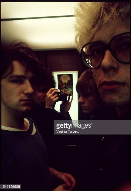 Group portrait of Irish rock band U2 Belgium 18 October 1980 LR Bono The Edge Adam Clayton Larry Mullen Jnr