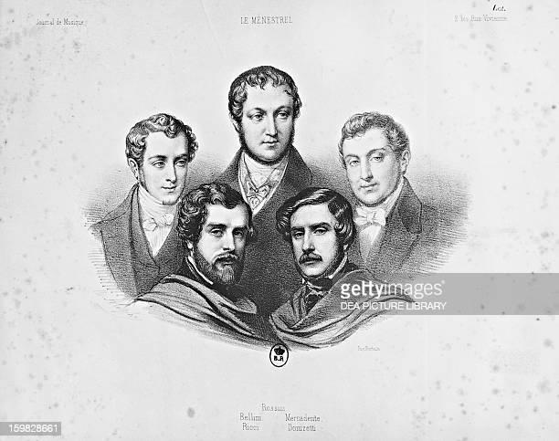Group portrait of Italian composers of the 19th century Vincenzo Bellini Gioachino Rossini Saverio Mercadante Luigi Ricci and Gaetano Donizetti