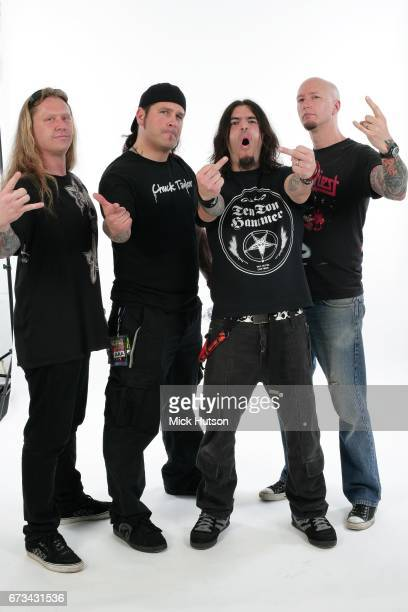 Group portrait of Machine Head Download Festival Donington United Kingdom 11th June 2007 LR Adam Duce Phil Demmel Robb Flynn Dave McClain
