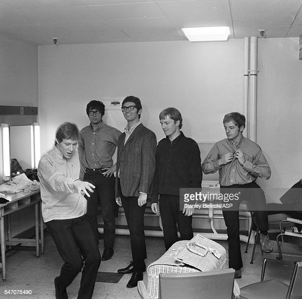 Group portrait of Manfred Mann in a dressing room United Kingdom circa 1965 LR Paul Jones Manfred Mann Tom McGuinness Mike Vickers Mike Hugg