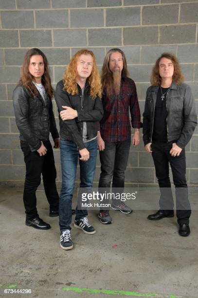 Group portrait of Megadeth Wembley Arena London 14th November 2015 LR Kiko Loureiro Dave Mustaine Chris Adler David Ellefson