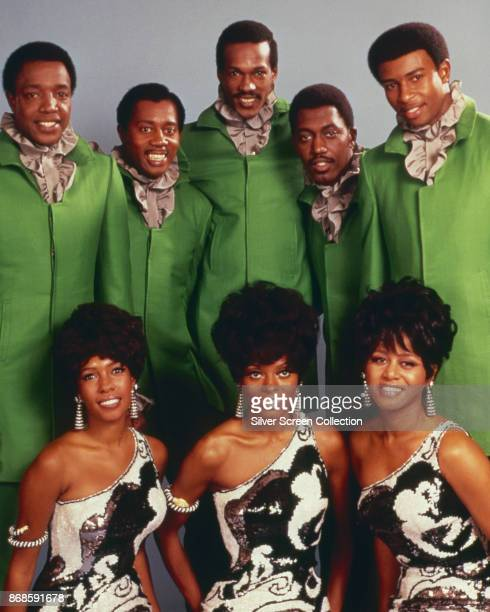 Group portrait of members of groups the Temptations and the Supremes early 1968 Pictured are back from left Paul Williams Melvin Franklin Eddie...