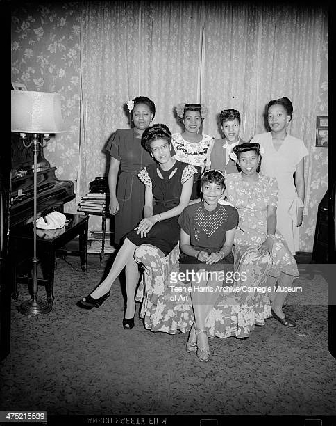 Group portrait of members of La Joyas Club standing Bobetta Brooks Johnson Eleanor Burden Vivian Colbert Anna Brooks seated Essie Mae Watson Williams...