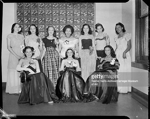 Group portrait of members of the Cheres Amies standing from left Claire Hall Florence Holmes Eunice Walker Sylvia Calloway Frances Bell Sarah Gibson...
