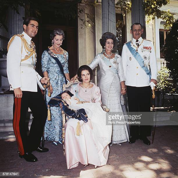 Group portrait of members of the Greek royal family at the christening of Princess Alexia of Greece and Denmark in 1965. From left to right: King...