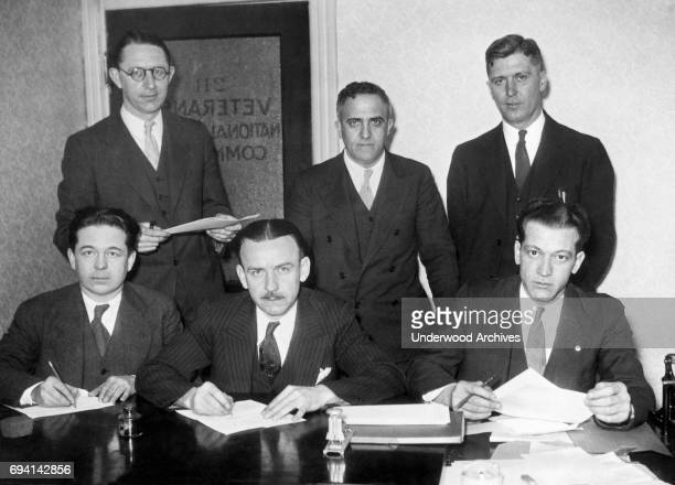 Group portrait of members of the Veterans' National Liaison Committee as they pose in their office Washington DC May 3 1933 They were preparing for...