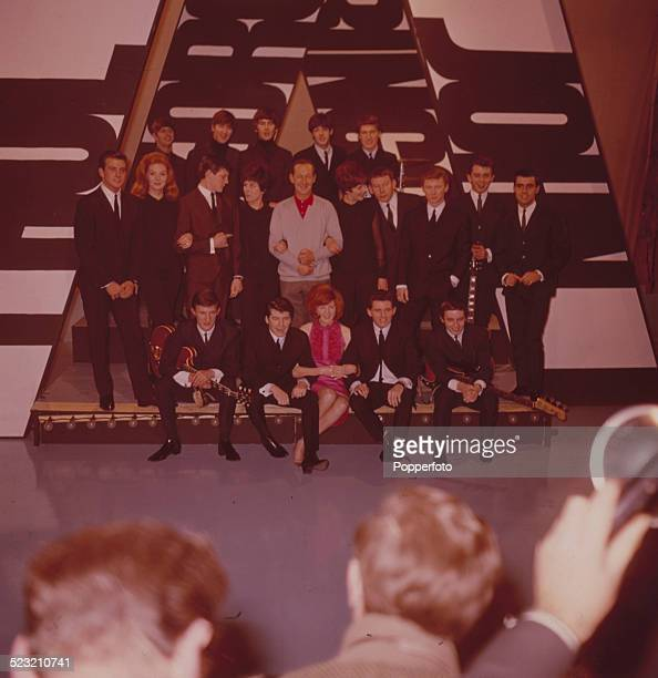 Group portrait of members of various beat groups including The Beatles The Searchers Cilla Black Billy J Kramer and the Dakotas and the Breakaways...