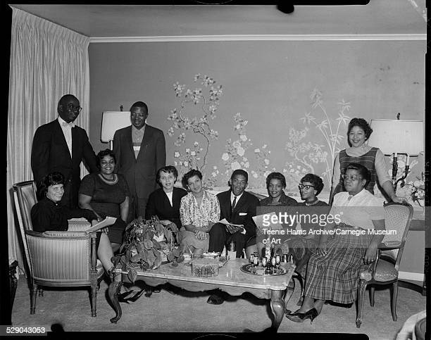 Group portrait of NAACP membership drive workers from left Mina Kavaler Charles Hoston Lorenda Tyler Willis Walker Barbara Murphy Anna Mae English...