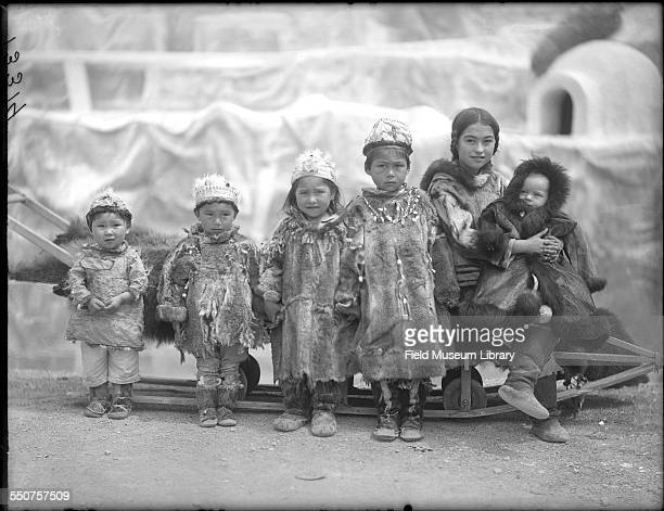 Group portrait of Native American Aluet children including Nancy Columbia second from right a girl born at the 1893 World's Columbian Exposition at...