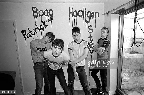 Group portrait of New Wave of New Wave band These Animal Men wearing Adidas and Lonsdale tshirts United Kingdom 1994 LR Patrick Murray Alexander Boag...