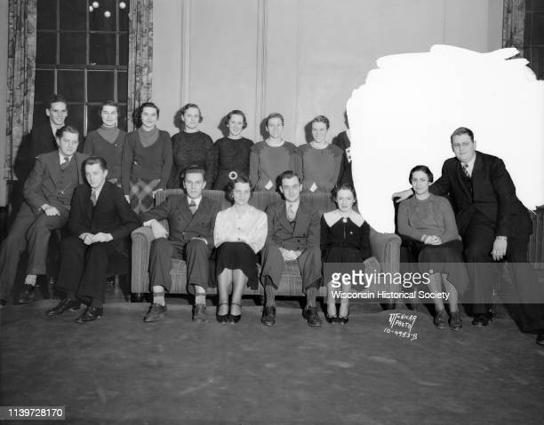 Group portrait of nine pairs of twins students at the University of Wisconsin Madison Wisconsin November 23 1934 Rear row l to r Rudy Custer...