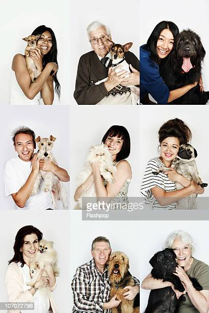 Group portrait of people and their pets