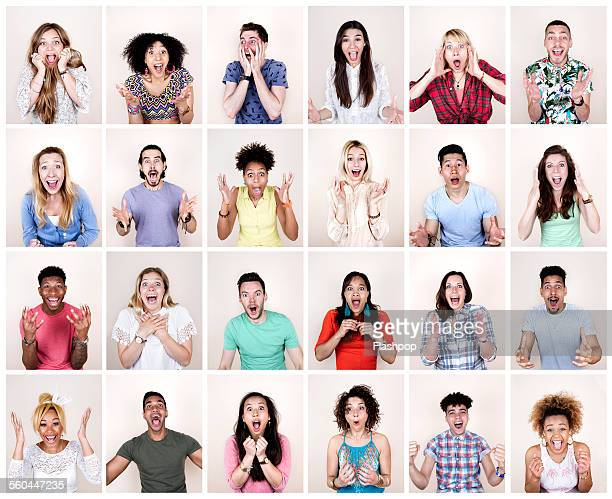 group portrait of people looking surprised - begeisterung stock-fotos und bilder