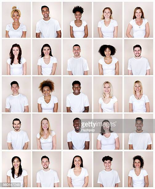 group portrait of people smiling - europese etniciteit stockfoto's en -beelden