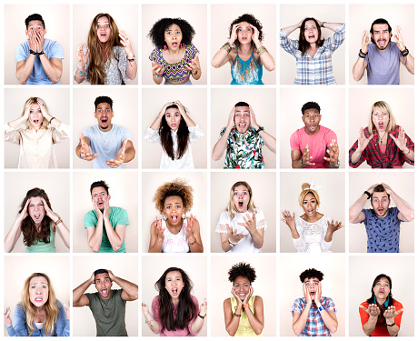 Group portrait of people with shocked expressions - gettyimageskorea