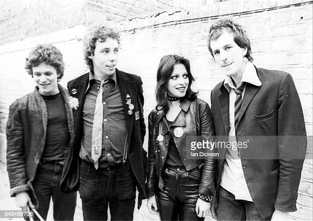 Group portrait of punk band The Adverts London June 1977 LR Laurie Driver TV Smith Gaye Advert Howard Pickup