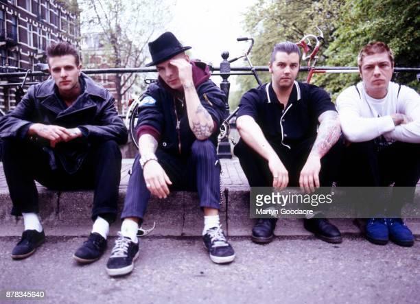 Group portrait of Rancid in Amsterdam Netherlands 1995 LR Brett Reed Tim Armstrong Matt Freeman Lars Frederiksen