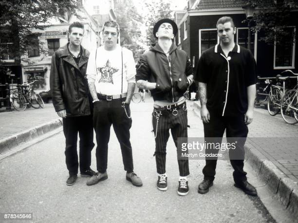 Group portrait of Rancid in Amsterdam Netherlands 1995 LR Brett Reed Lars Frederiksen Tim Armstrong Matt Freeman