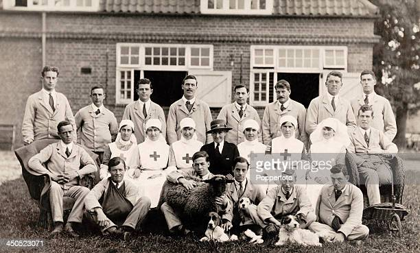A group portrait of Red Cross nurses and wounded soldiers with a sheep and three dogs during World War One circa 1917