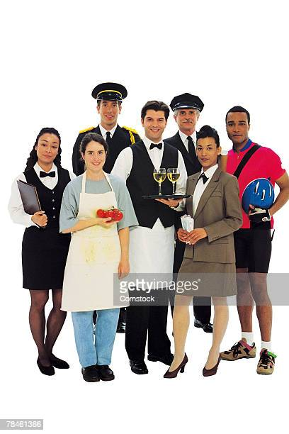 Group portrait of service occupations