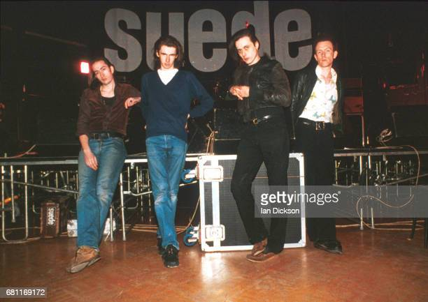 Group portrait of Suede at The Junction Cambridge United Kingdom 01 March 1992 LR Brett Anderson Bernard Butler Mat Osman Simon Gilbert