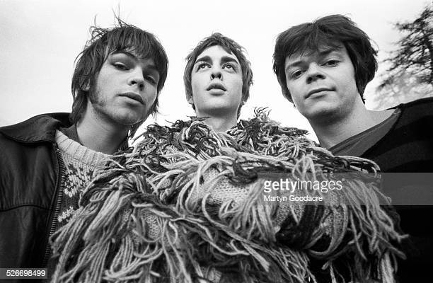 Group portrait of Supergrass, Oxford, United Kingdom, 1994. L-R Gaz Coombes, Danny Goffey and Mick Quinn.