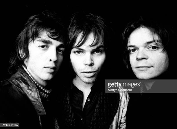 Group portrait of Supergrass, Oxford, United Kingdom, 1996. L-R Danny Goffey, Gaz Coombes and Mick Quinn.