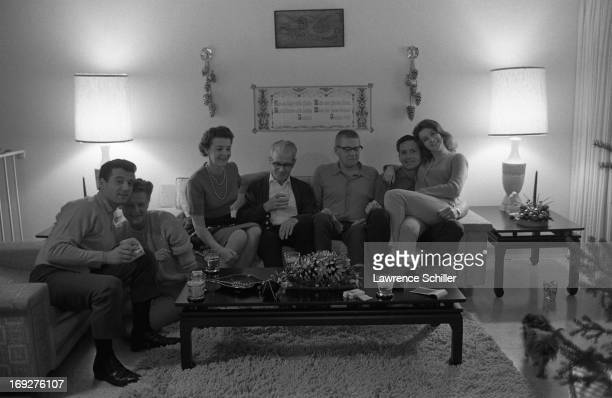 Group portrait of Swedishborn American actress AnnMargret as she pose at home with friends Los Angeles California 1963 Among those pictured is agent...