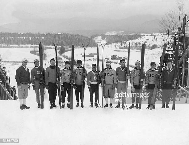 Group portrait of the American men's Olympic ski team seen on the opening day of the Winter Olympics in Lake Placid New York February 4 1932 From...