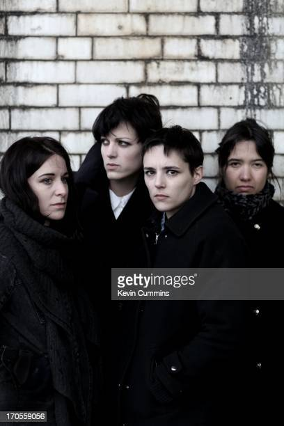 A group portrait of the band Savages in Balham London on 5th April 2013 Left to right drummer Fay Milton guitarist Gemma Thompson singer Jehnny Beth...