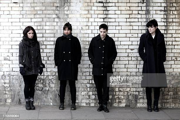 A group portrait of the band Savages in Balham London on 5th April 2013 Left to right drummer Fay Milton bassist Ayse Hassan singer Jehnny Beth and...