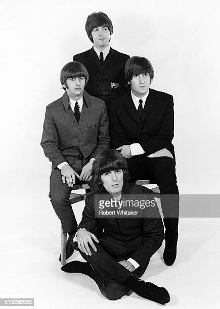 Group portrait of the Beatles in a studio in Farringdon London late 1964 Clockwise from top Paul McCartney John Lennon George Harrison Ringo Starr