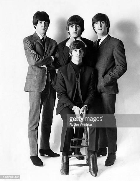 Group portrait of the Beatles in a studio in Farringdon, London, late 1964. Clockwise from top left: Paul McCartney, George Harrison, John Lennon,...