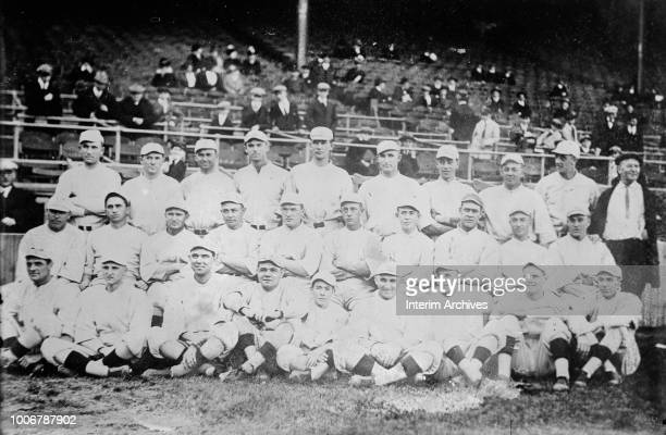 Group portrait of the Boston Red Sox American League Champions 1916 Front row left to right Hoblitzel Pennock Shore Babe Ruth 'Red' Glennon team...