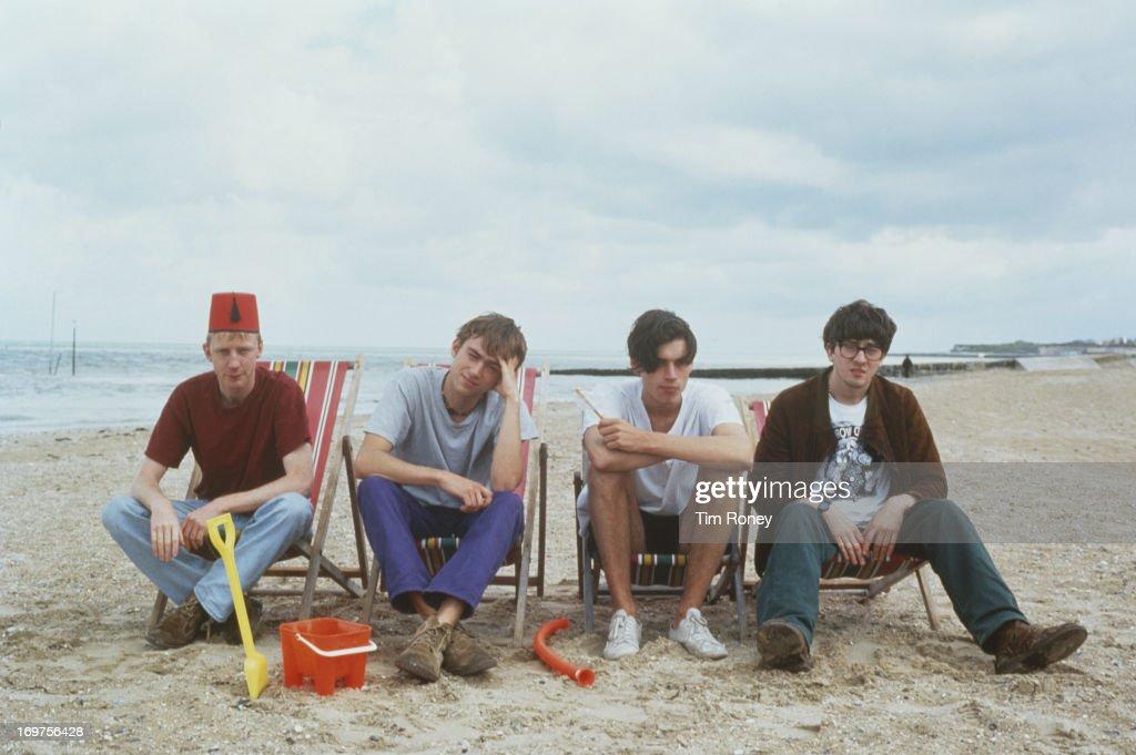 Group portrait of the British band Blur, circa 1996. L - R; Dave Rowntree, Damon Albarn, Alex James, Graham Coxon.