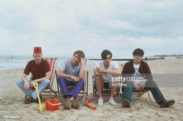 Group portrait of the British band Blur circa 1996 L R Dave Rowntree Damon Albarn Alex James Graham Coxon