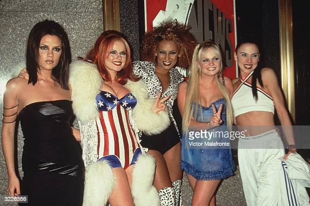Group portrait of the British pop group The Spice Girls at the MTV Video Music Awards Radio City Music Hall New York City LR Posh Spice Ginger Spice...