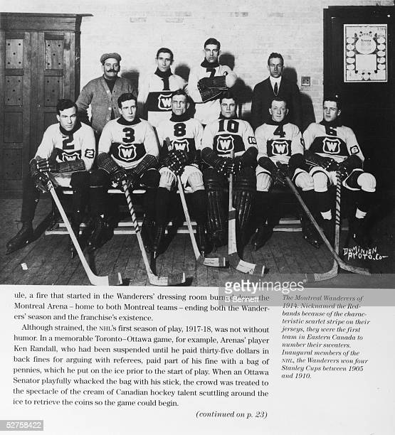 Group portrait of the Canadian hockey team the Montreal Wanderers 1914 The Wanderers won four Stanley Cups between 1905 and 1910 and was one of the...