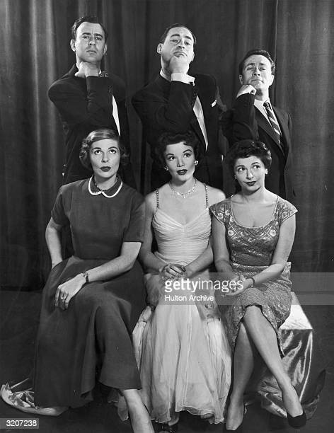 Group portrait of the cast of American comedian Sid Caesar's television series 'Caesar's Hour' Front LR Virginia Curtis Nanette Fabray Ellen Parker...