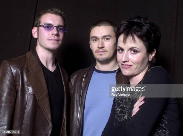 Group portrait of The Cranberries at Wisseloord Studios, Hilversum, Netherlands, 24th September 2001. L-R Fergal Lawler, Mike Hogan, Dolores...