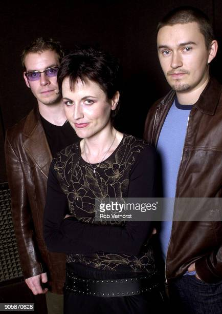 Group portrait of The Cranberries at Wisseloord Studios Hilversum Netherlands 24th September 2001 LR Fergal Lawler Dolores O'Riordan Mike Hogan