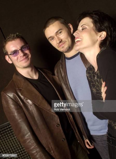 Group portrait of The Cranberries at Wisseloord Studios Hilversum Netherlands 24th September 2001 LR Fergal Lawler Mike Hogan Dolores O'Riordan