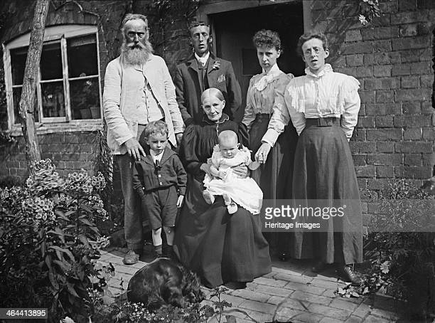 Group portrait of the Franklin family, Hellidon, Northamptonshire, 1900. Three generations of the Franklin family posed outside a doorway in...