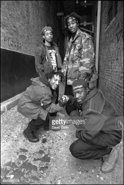 Group portrait of The Gravediggaz in Tribeca New York City on 14 May 1994 Clockwise from bottom left The Grym Reaper The Undertaker The Rzarector and...