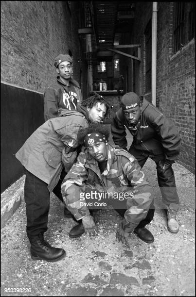 Group portrait of The Gravediggaz in Tribeca New York City on 14 May 1994 LR The Undertaker The Grym Reaper The Rzarector and The Gatekeeper